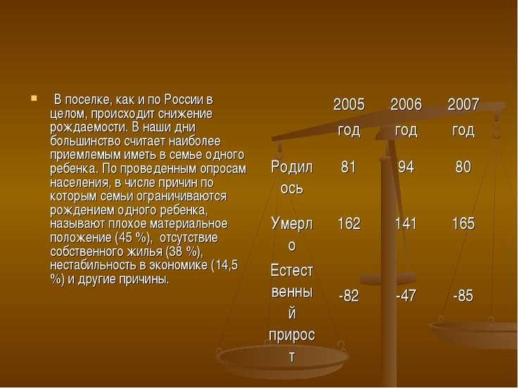 В поселке, как и по России в целом, происходит снижение рождаемости. В наши д...