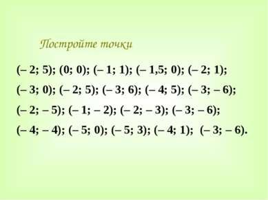 Постройте точки (– 2; 5); (0; 0); (– 1; 1); (– 1,5; 0); (– 2; 1); (– 3; 0); (...