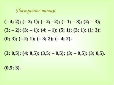 Постройте точки (– 4; 2); (– 3; 1); (– 2; –2); (– 1; – 3); (2; – 3); (3; – 2)...