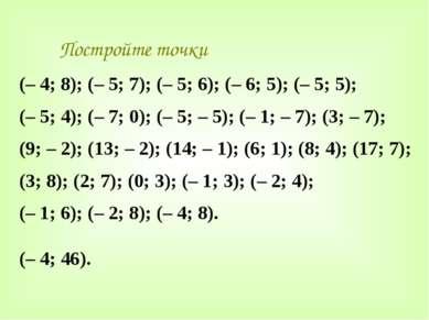Постройте точки (– 4; 8); (– 5; 7); (– 5; 6); (– 6; 5); (– 5; 5); (– 5; 4); (...