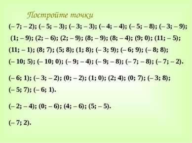 Постройте точки (– 7; – 2); (– 5; – 3); (– 3; – 3); (– 4; – 4); (– 5; – 8); (...
