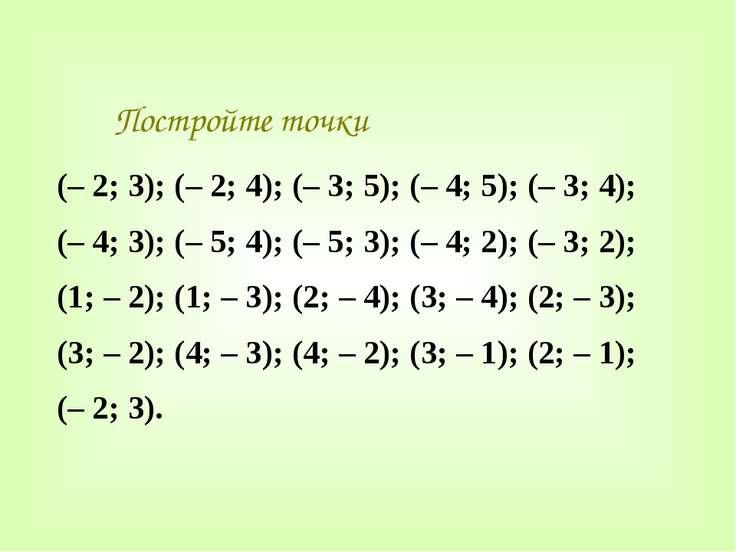 Постройте точки (– 2; 3); (– 2; 4); (– 3; 5); (– 4; 5); (– 3; 4); (– 4; 3); (...