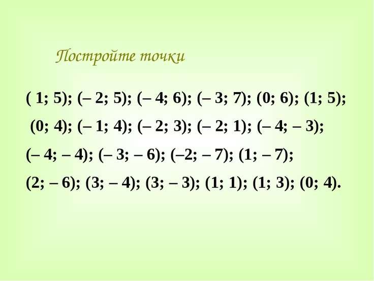 Постройте точки ( 1; 5); (– 2; 5); (– 4; 6); (– 3; 7); (0; 6); (1; 5); (0; 4)...