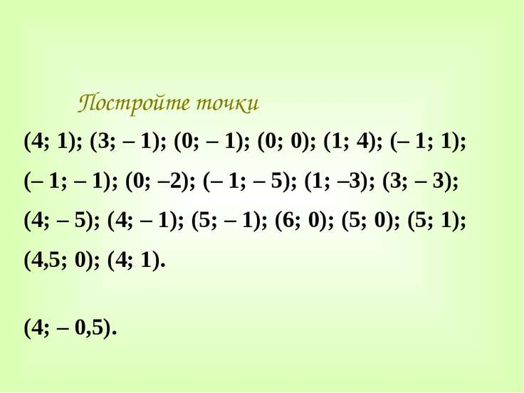 Постройте точки (4; 1); (3; – 1); (0; – 1); (0; 0); (1; 4); (– 1; 1); (– 1; –...