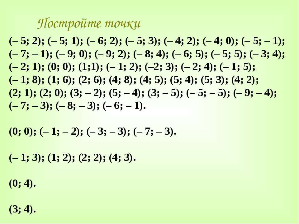 Постройте точки (– 5; 2); (– 5; 1); (– 6; 2); (– 5; 3); (– 4; 2); (– 4; 0); (...