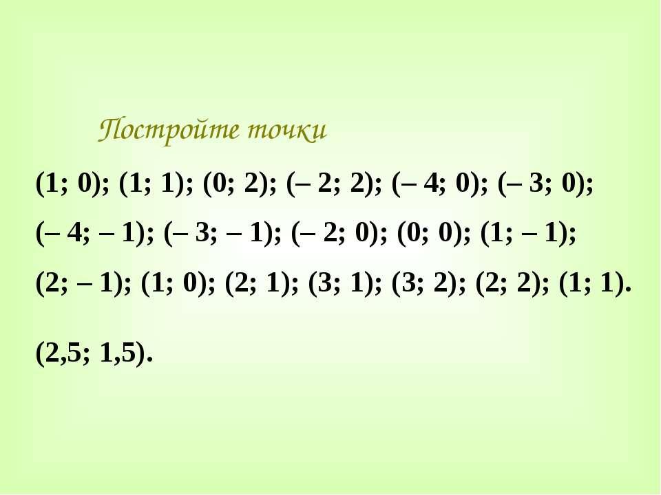 Постройте точки (1; 0); (1; 1); (0; 2); (– 2; 2); (– 4; 0); (– 3; 0); (– 4; –...