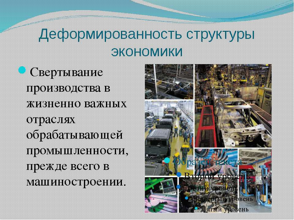 Деформированность структуры экономики Свертывание производства в жизненно важ...