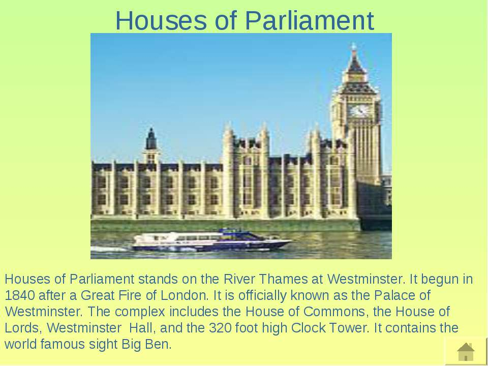 Houses of Parliament Houses of Parliament stands on the River Thames at Westm...