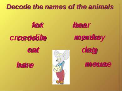 Decode the names of the animals xof cordocile tca rahe rbae myneko odg mesuo ...
