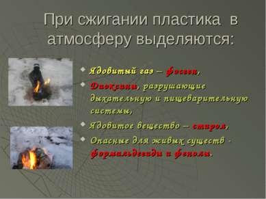 При сжигании пластика в атмосферу выделяются: Ядовитый газ – фосген, Диоксины...