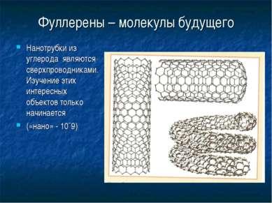 Фуллерены – молекулы будущего Нанотрубки из углерода являются сверхпроводника...