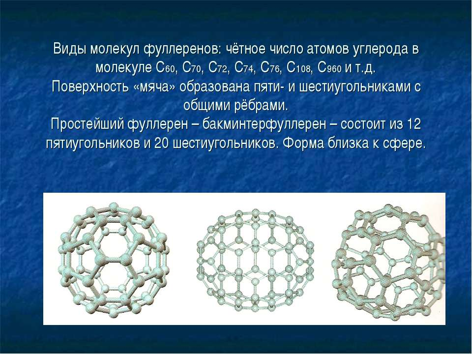 Виды молекул фуллеренов: чётное число атомов углерода в молекуле С60, С70, С7...