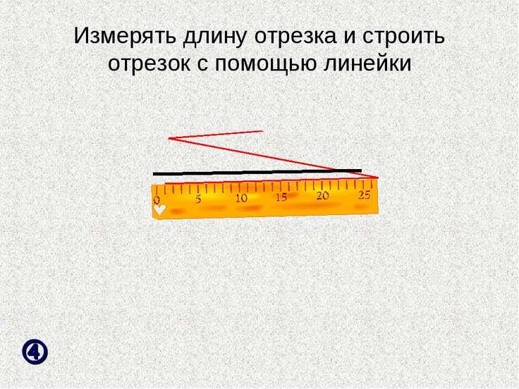 Измерять длину отрезка и строить отрезок с помощью линейки