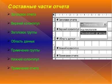 Составные части отчета Заголовок отчета Верхний колонтитул Заголовок группы О...