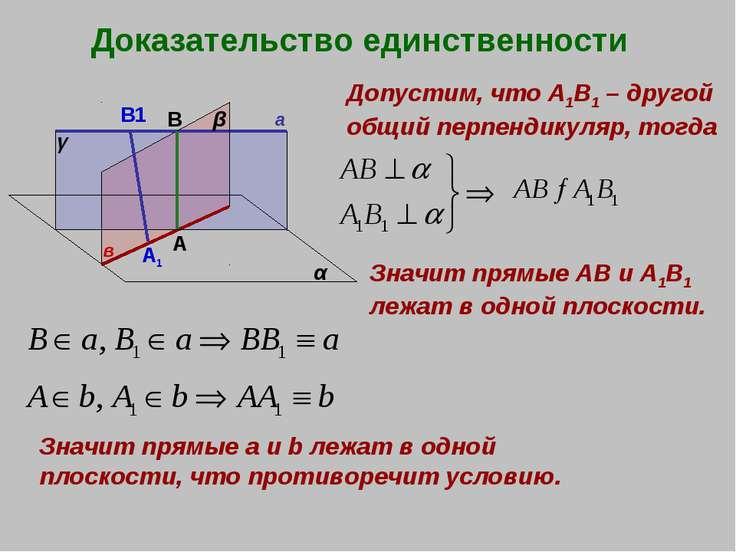 Доказательство единственности а в α β γ А В Допустим, что А1В1 – другой общий...