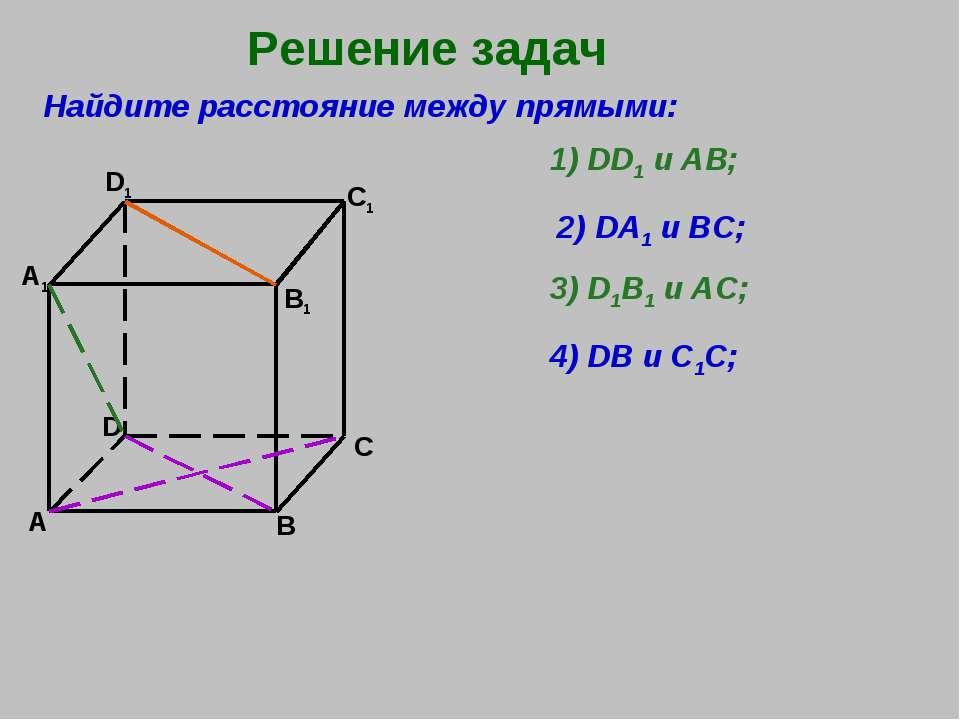 Решение задач А В C D A1 D1 C1 B1 Найдите расстояние между прямыми: 1) DD1 и ...