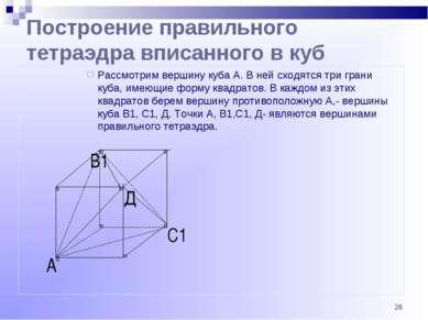 * С1 В1 А Построение правильного тетраэдра вписанного в куб Рассмотрим вершин...