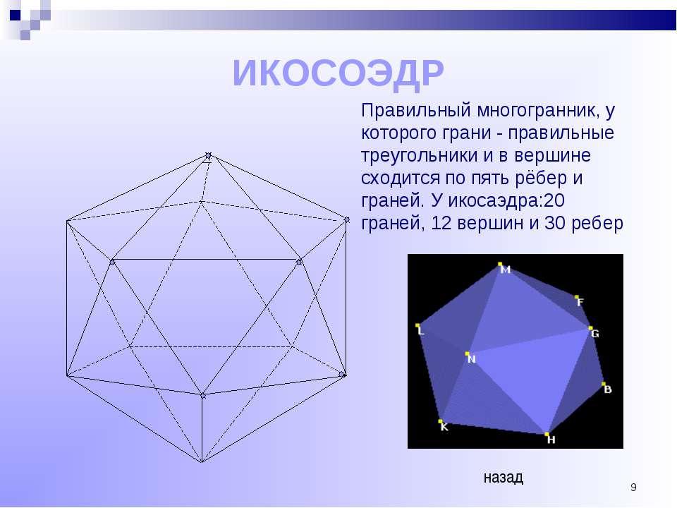 * ИКОСОЭДР Правильный многогранник, у которого грани - правильные треугольник...