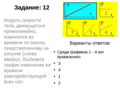 Задание: 12 Среди графиков 1 - 4 нет правильного. 3 4 1 2 Модуль скорости...