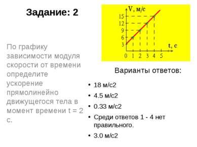 Задание: 2 18 м/с2 4.5 м/с2 0.33 м/с2 Среди ответов 1 - 4 нет правильного. 3....