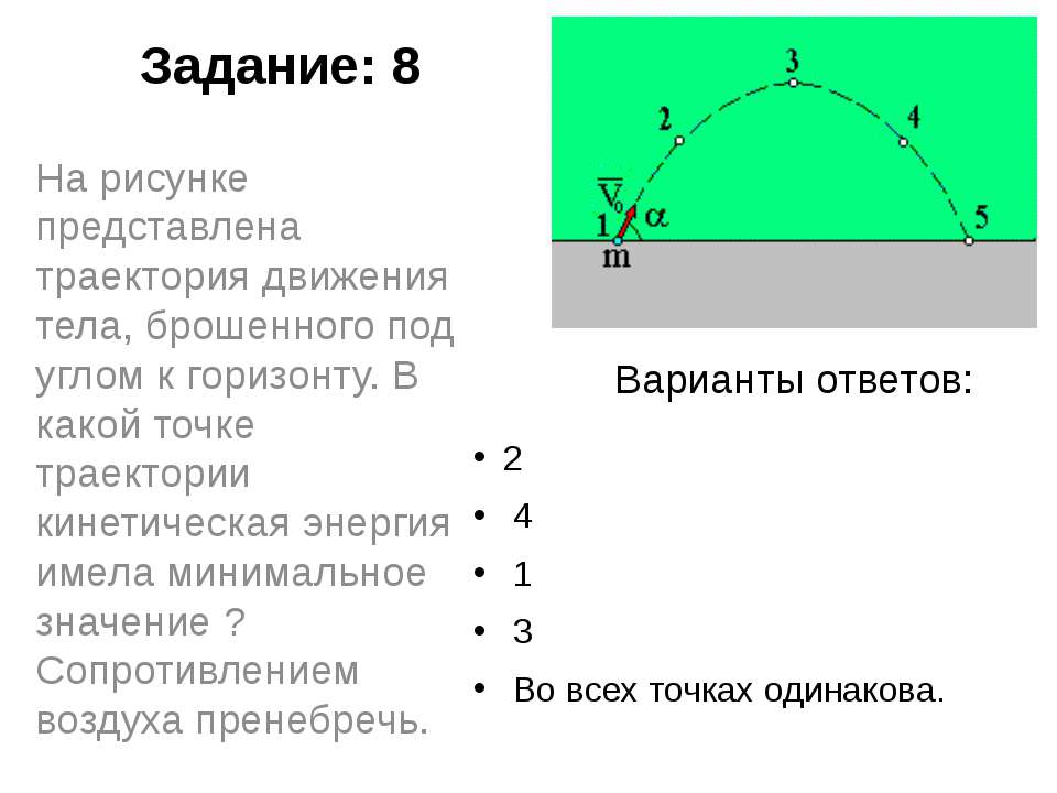 Задание: 8 2 4 1 3 Во всех точках одинакова. На рисунке представлена трае...