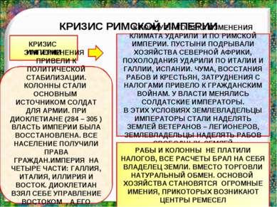 КРИЗИС РИМСКОЙ ИМПЕРИИ КРИЗИС ИМПЕРИИ К КОНЦУ 2 – ГО ВЕКА ИЗМЕНЕНИЯ КЛИМАТА У...