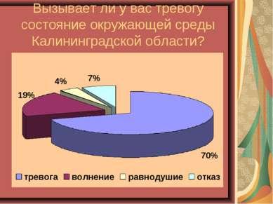 Вызывает ли у вас тревогу состояние окружающей среды Калининградской области?