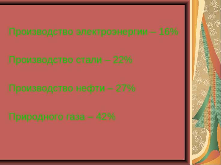 Производство электроэнергии – 16% Производство стали – 22% Производство нефти...