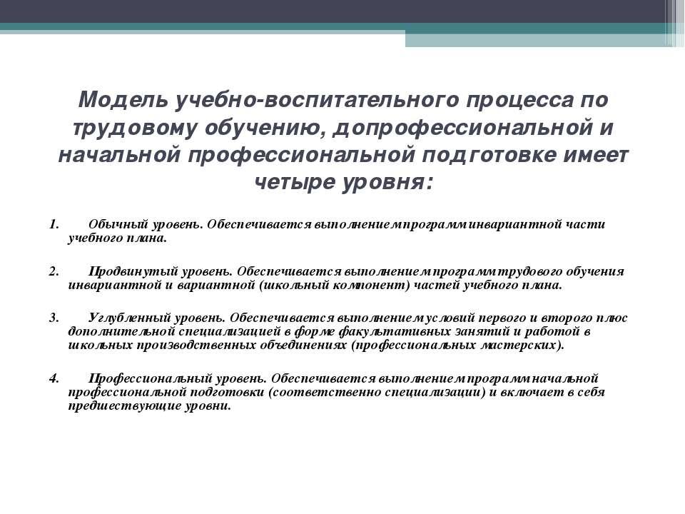 Модель учебно-воспитательного процесса по трудовому обучению, допрофессиональ...