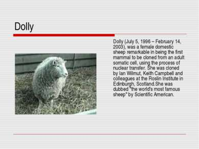 Dolly Dolly (July 5, 1996 – February 14, 2003), was a female domestic sheep r...
