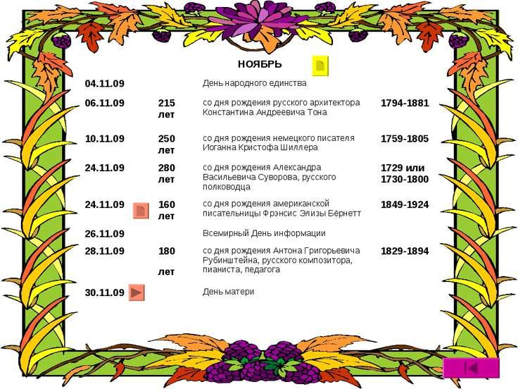 НОЯБРЬ 04.11.09 День народного единства 06.11.09 215 лет со дня рождения русс...