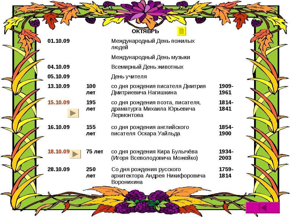 ОКТЯБРЬ 01.10.09 Международный День пожилых людей Международный День музыки 0...
