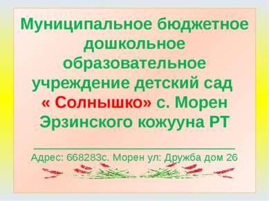 Муниципальное бюджетное дошкольное образовательное учреждение детский сад « С...