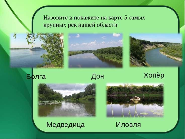 Назовите и покажите на карте 5 самых крупных рек нашей области Волга Дон Хопё...