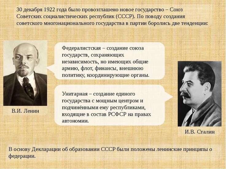 30 декабря 1922 года было провозглашено новое государство – Союз Советских со...