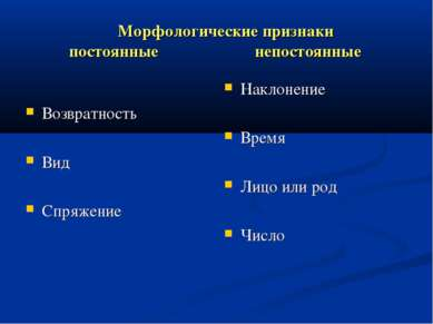 Морфологические признаки постоянные непостоянные Возвратность Вид Спряжение Н...