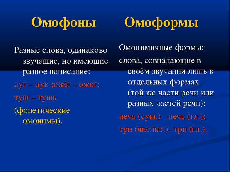 Омофоны Омоформы Разные слова, одинаково звучащие, но имеющие разное написани...