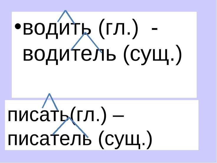 водить (гл.) - водитель (сущ.) писать(гл.) – писатель (сущ.)