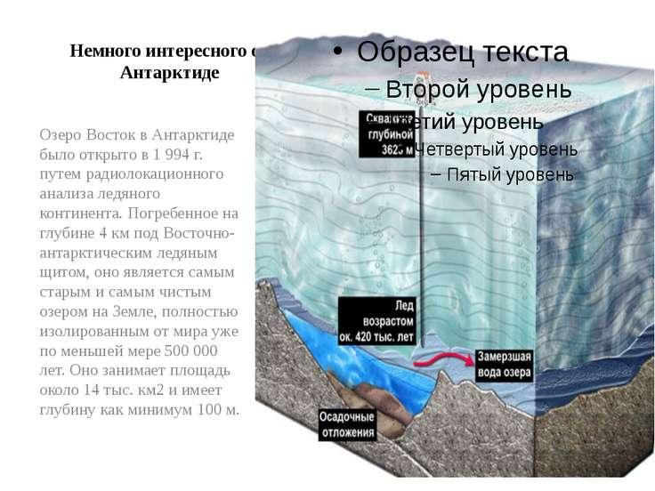 Немного интересного об Антарктиде Озеро Восток в Антарктиде было открыто в 1 ...