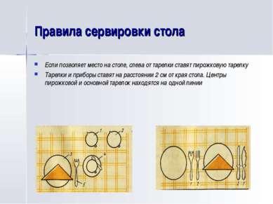 Правила сервировки стола Если позволяет место на столе, слева от тарелки став...