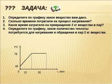 ??? ЗАДАЧА: 0 48 78 tºC τ, мин 10 30 Определите по графику какое вещество вам...