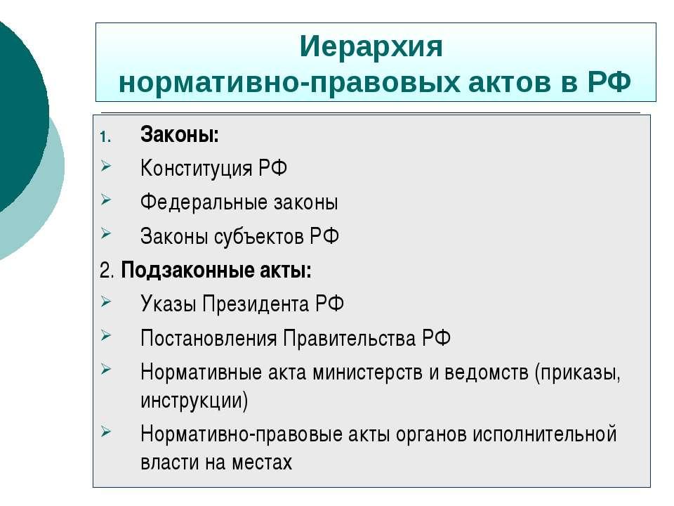 Иерархия нормативно-правовых актов в РФ Законы: Конституция РФ Федеральные за...