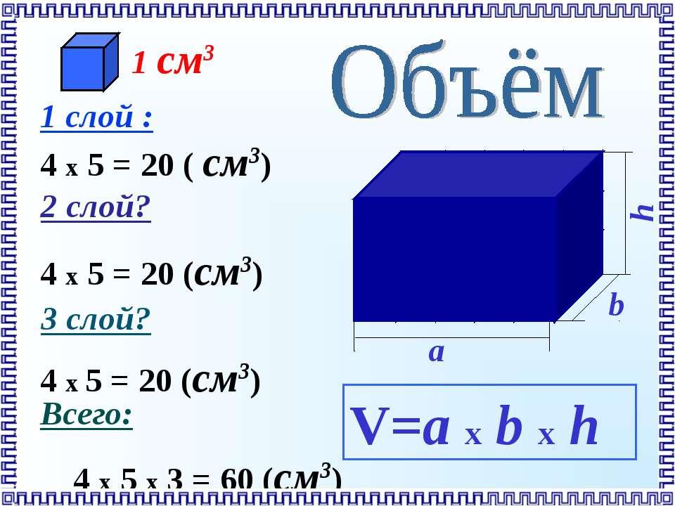 V=a х b х h 4 x 5 = 20 (см3) 4 x 5 = 20 (см3) 1 слой : 4 x 5 = 20 ( см3) 2 сл...