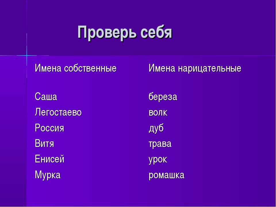 Проверь себя Имена собственные Имена нарицательные Саша береза Легостаево вол...