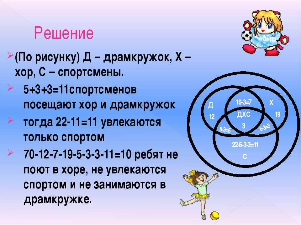 Решение (По рисунку) Д – драмкружок, Х – хор, С – спортсмены. 5+3+3=11спортсм...