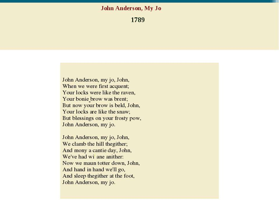 John Anderson, My Jo 1789 John Anderson, my jo, John,  When we were first acq...