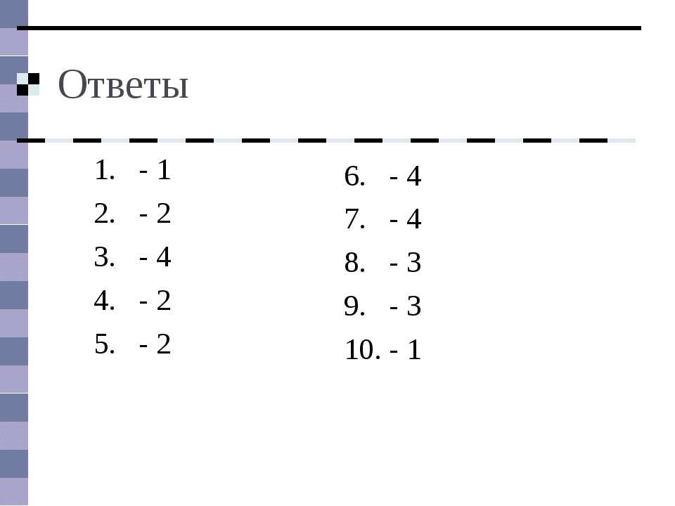 Ответы - 1 - 2 - 4 - 2 - 2 - 4 - 4 - 3 - 3 - 1