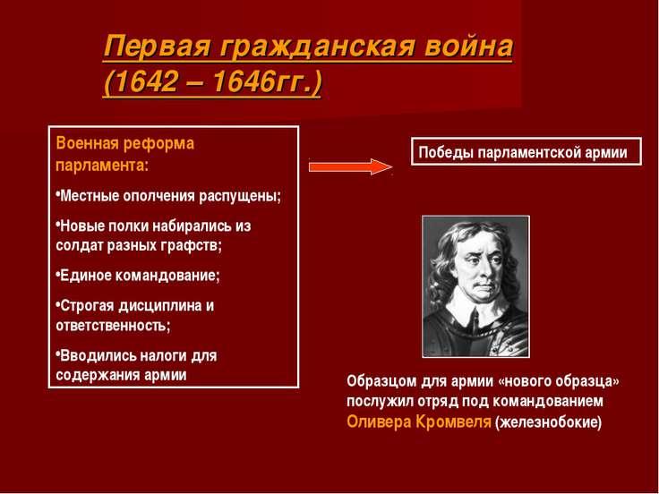 Первая гражданская война (1642 – 1646гг.) Военная реформа парламента: Местные...