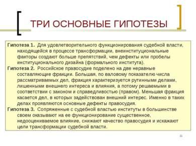 * ТРИ ОСНОВНЫЕ ГИПОТЕЗЫ Гипотеза 1. Для удовлетворительного функционирования ...