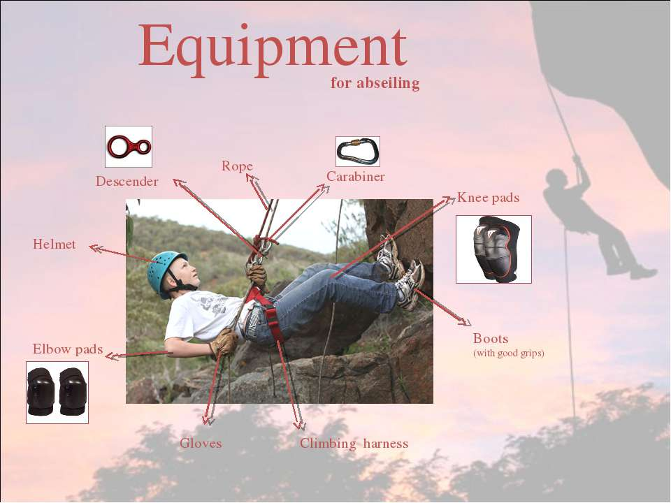 Equipment Gloves Climbing harness Boots (with good grips) Knee pads Elbow pad...